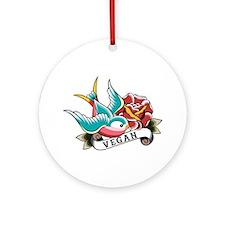 Vegan sparrow tattoo design Ornament (Round)