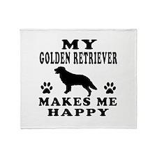 My Golden Retriever makes me happy Throw Blanket