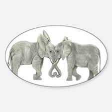 Elephants in Love Sticker (Oval)