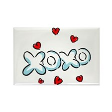 Hugs & Kisses XOXO Rectangle Magnet (10 pack)