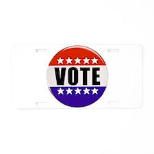 Vote Button Aluminum License Plate