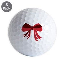 Red Christmas Ribbon Bow Golf Ball