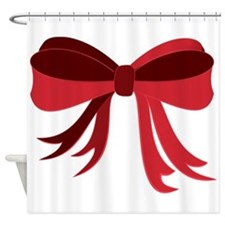 Red Christmas Ribbon Bow Shower Curtain