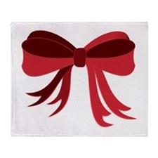 Red Christmas Ribbon Bow Throw Blanket