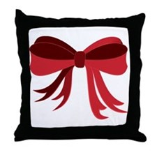 Red Christmas Ribbon Bow Throw Pillow