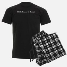 I kicked cancer in the nuts Mens Pajamas