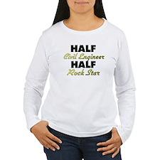 Half Civil Engineer Half Rock Star Long Sleeve T-S