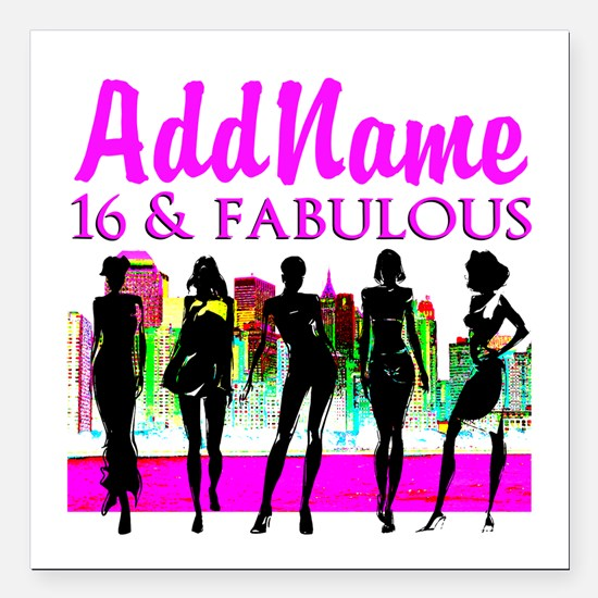 "TRENDY 16TH Square Car Magnet 3"" x 3"""