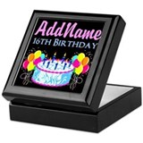 16th birthday for girl Square Keepsake Boxes