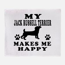 My Jack Russell Terrier makes me happy Throw Blank