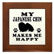 My Japanese Chin makes me happy Framed Tile