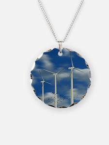 Wind Turbine Blue Clouds Necklace