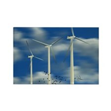 Wind Turbine Blue Clouds Rectangle Magnet