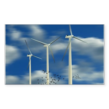 Wind Turbine Blue Clouds Sticker (Rectangle)