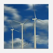 Wind Turbine Blue Clouds Tile Coaster