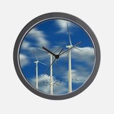 Wind Turbine Blue Clouds Wall Clock
