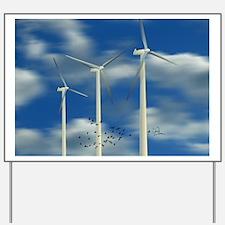 Wind Turbine Blue Clouds Yard Sign