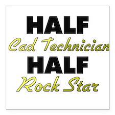 Half Cad Technician Half Rock Star Square Car Magn