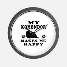 My Komondor makes me happy Wall Clock