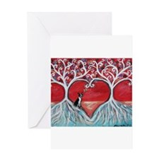 Boston Terrier love heart trees Greeting Cards