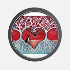 Boston Terrier love heart trees Wall Clock