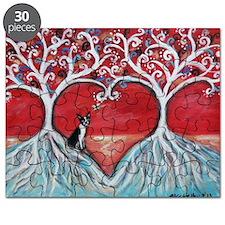 Boston Terrier love heart trees Puzzle