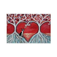 Boston Terrier love heart trees Magnets