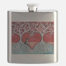 Boston Terrier love heart trees Flask
