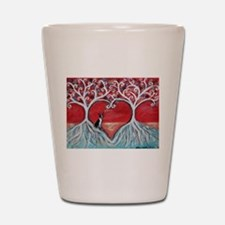 Boston Terrier love heart trees Shot Glass