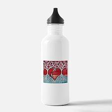 Boston Terrier love heart trees Water Bottle