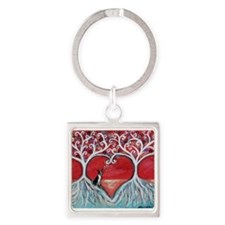 Boston Terrier love heart trees Keychains