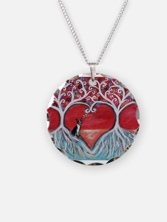 Boston Terrier love heart trees Necklace