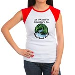 Valentine's Whirled Peas Women's Cap Sleeve T-Shir