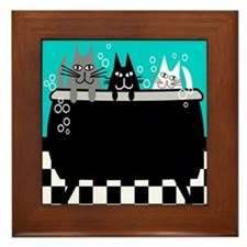 Whimsical Cat Art Framed Tile