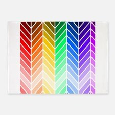 Rainbow Ombre Chevron 5'x7'Area Rug