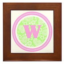Lime Paisley Monogram-W Framed Tile