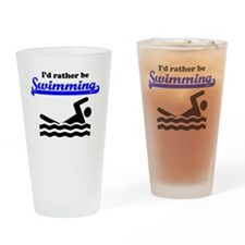 Id Rather Be Swimming Drinking Glass
