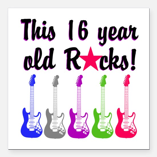 "ROCKIN 16 YR OLD Square Car Magnet 3"" x 3"""