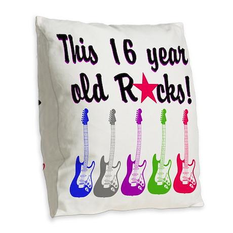ROCKIN 16 YR OLD Burlap Throw Pillow