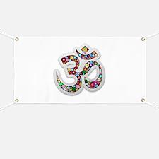 Om Aum Namaste Yoga Symbol Banner