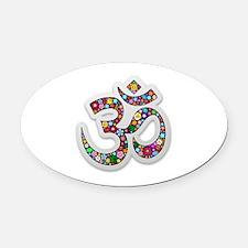 Om Aum Namaste Yoga Symbol Oval Car Magnet