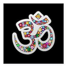 """Om Aum Namaste Yoga Symbol Square Car Magnet 3"""" x"""