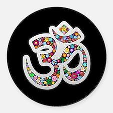 Om Aum Namaste Yoga Symbol Round Car Magnet