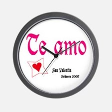 "Valentine Wall Clock ""Te amo"" Reloj de pared"