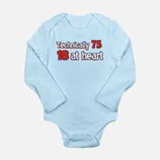 75 year old birthday designs Long Sleeve Infant Bo