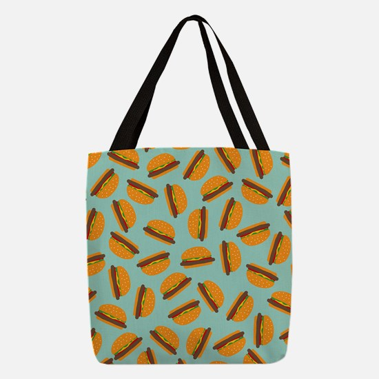 Cute Burger Pattern Polyester Tote Bag