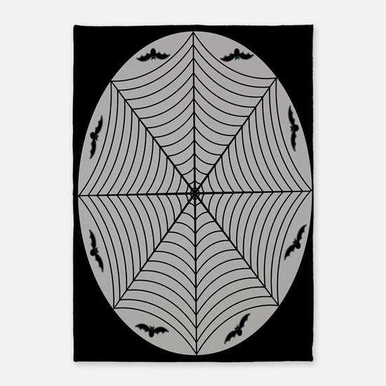 Spider Web and Bats wht gray 5'x7'Area Rug