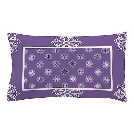 Purple | White Snowflakes Pillow Case