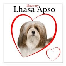 "Lhasa Apso Love Square Car Magnet 3"" x 3"""