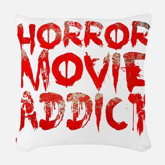 Horror movie addict Woven Throw Pillow